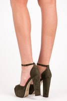 Semišové khaki sandály na platformě