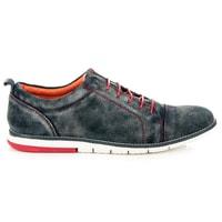 Pánské kožené boty šedomodré