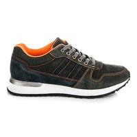 Sportovní kožené boty tmavošedé
