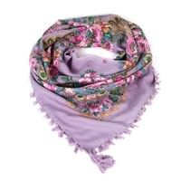 Folkový šátek s květy fialkový
