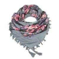 Folkový šátek s květy šedý