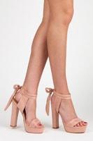 Trendy růžové sandály na platformě s vázáním
