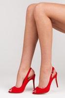 Nádherné červené semišové lodičky open toe
