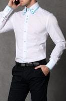 Slim fit košile bílá s modrými doplňky