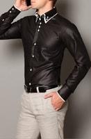Slim fit košile černá lesklá