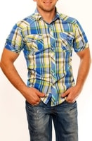 Modrá kostkovaná pánská košile