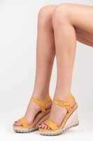 Letní dámské boty na klínu žluté