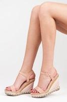 Letní dámské boty na klínu růžové
