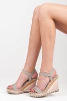 Letní dámské boty na klínu šedé