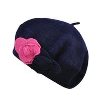 Vlněný baret s květem tmavěmodrý