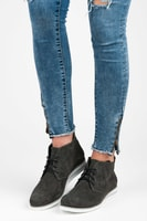 Šedé kožené kotníkové boty