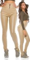 Módní lesklé kalhoty s vysokým pasem
