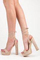 Béžové sandály na podpatku