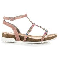 Sandály na klínu růžové