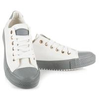 Bílé tenisky s šedou gumou