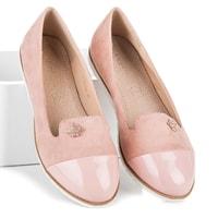 Stylové semišové baleríny růžové