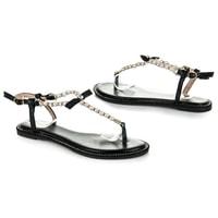 Ploché černé sandály s korálky