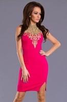 Elegantní fuchsiové šaty s krajkou