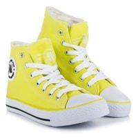Jasně žluté šněrovací kotníčkové tenisky