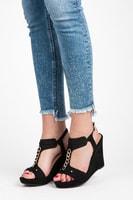 Dámská obuv na klínu černá