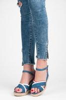 Dámské modré sandály na podpatku