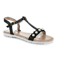 Ploché černé sandálky s korálky