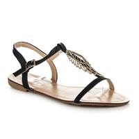 Ploché černé sandály zdobené křídlem