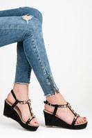 Elegantní černé sandály s kamínky