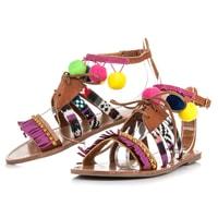 Vázané sandály s etnickým vzorem