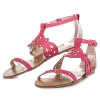 Ažurové ploché sandály růžové