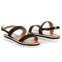 Ploché sandály s kamínky černé