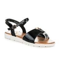 Černé lakované sandály na platformě
