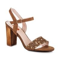 Ažurové sandály na podpatku hnědé