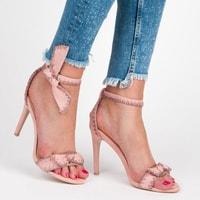 Sandály s mašlí na jehlovém podpatku růžové