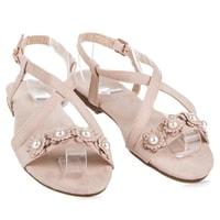 Dámské sandály s perličkami béžové