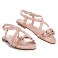 Dámské sandály s perličkami růžové