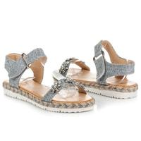 Sandály espadrilky na suchý zip šedé