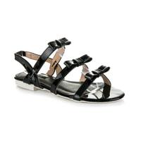 Lakované sandály s mašličkami černé