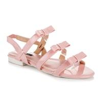 Lakované sandály s mašličkami růžové