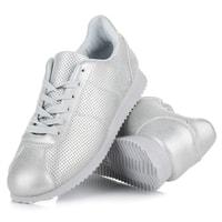 Ažurové sportovní boty stříbrné