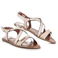 Pastelové lakované sandály béžové