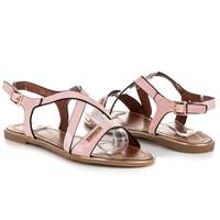 Pastelové lakované sandály růžové