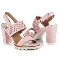 Ažurové sandály se zapínáním na suchý zip růžové