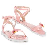 Lakované sandály s motýlkem růžové