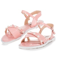 Ploché sandály s perličkami růžové