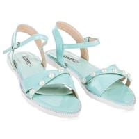 Ploché sandály s perličkami modré