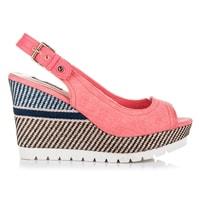 Sandály na klínu se vzorem růžové