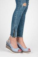 Sandály na klínu se vzorem modré