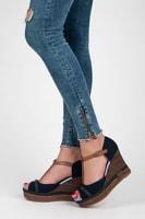 Letní obuv na klínu modrá