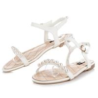 Ploché bílé sandály s korálky